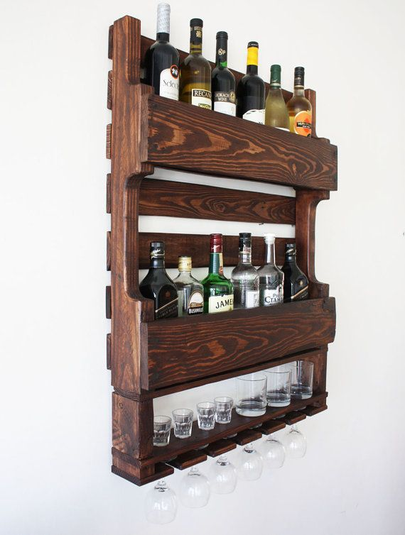Gorgeous double rustic wine rack for the wall. If by APT8ecodesign