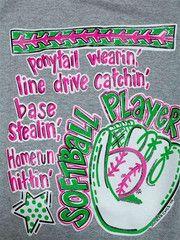 Southern Chics Funny Softball Player Sports Sweet Girlie Bright T Shir | SimplyCuteTees