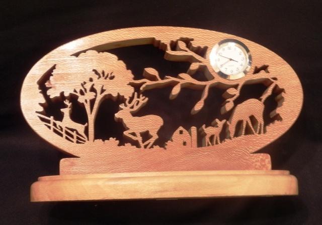 Wooden Deer Scene Clock - http://12tree.stamfordartisans.co.uk/