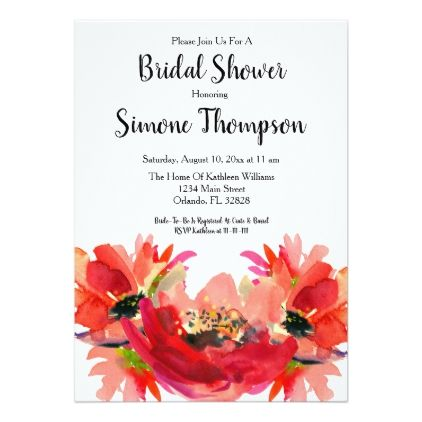 Coral Watercolor Floral Bridal Shower Invitation  $2.06  by everypartyinvitation  - custom gift idea
