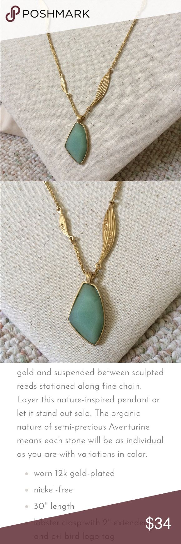 """🎈SALE! C + I Gilded Reed Aventurine necklace Gorgeous! And only taken out for photos. Brand new. 30"""" chain, gold plated, semi previous Aventurine stone. Retails for $68. Nickel free. Jewelry Necklaces"""