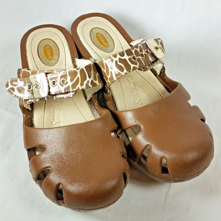 Dr Scholls Dance Feel Crazy Good Clogs Size 8 Brown Animal Print Adjust Strap #DrScholls #Clogs #Casual
