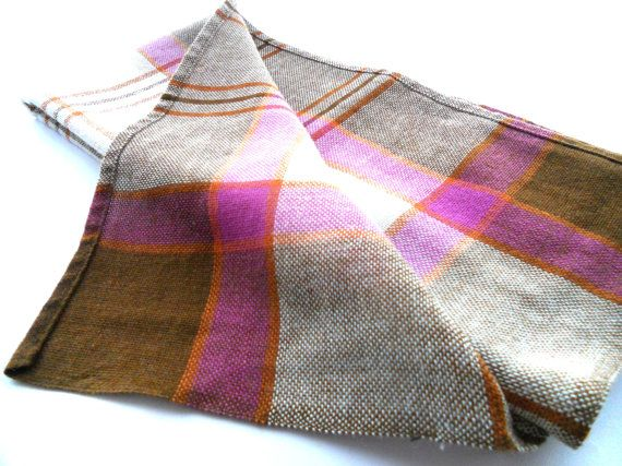 Vintage Swedish table cloth Plaid woven wool by TextilesVintage, $15.00
