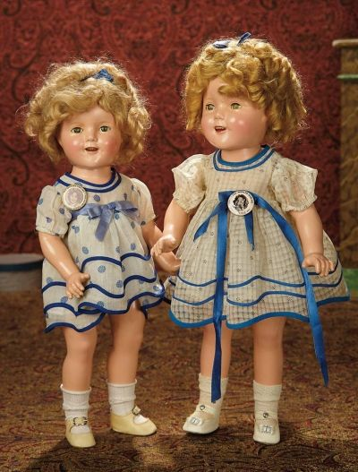 "The Memory of All That - Marquis Antique Doll Auction: 277 American Composition ""Shirley Temple"" Doll in ""Stand Up and Cheer"" Dress in Original Box"