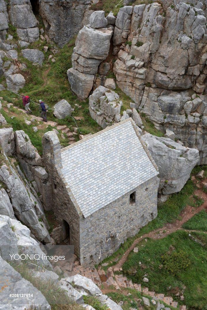 St. Govan's Chapel, St. Govan's Head, near Pembroke, Pembrokeshire, Wales.