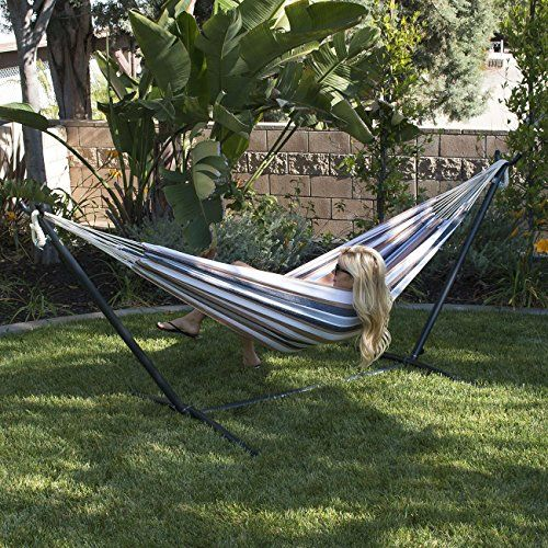 Bellezza Highly Portable Double Hammock 10 Ft Steel Stand Set That Comes Complete With