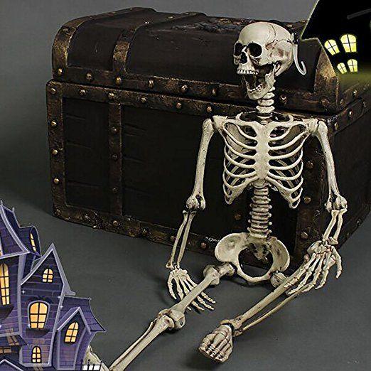 YOUJIA Skelett Mensch Kunststoff Halloween Party Dekoration Horror Deko Garten Menschliches Skelett Modell Lebensgroße Figuren für Draussen 90CM: Amazon.de: Spielzeug