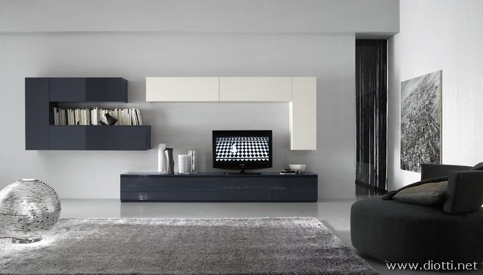 Front view of the FS20 wall system, with the typical horizontal and vertical hanging cabinets to create the so called 'tetris' effect: practical, artistic and highly customizable.