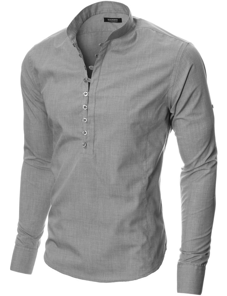 MODERNO Mens Mao Collar Casual Shirt (MOD1431LS) Gray. FREE worldwide shipping! 30 days return policy