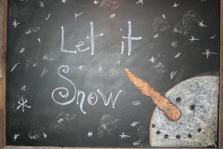 Hung a chalkboard outside our house on the front porch. I draw a different picture on it each season with chalk sticks. This one was for the winter.