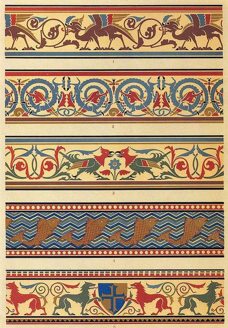 G and W Audsley 1882 Stylised medieval borders, produced by G and W Audsley in 1882. The Design Decoration Craft article relating to this illustration can be found here