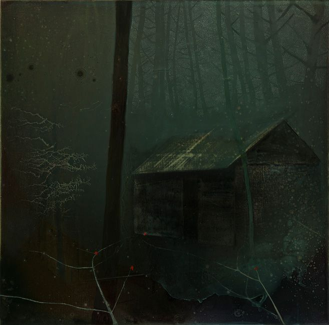 Sonia Stanyard, Untitled (green hut), oil on canvas. Sonia Stanyard is born 1973, Yorkshire. Lives and works in London. BA hons Fine Art, Southampton