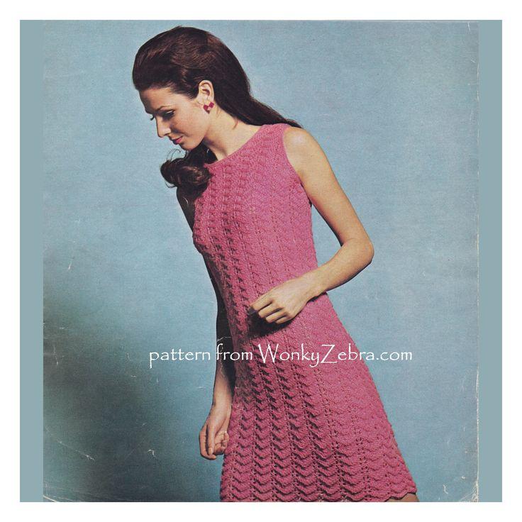 A pretty, vintage chevron lace slip dress to knit. Pattern WZ890 from WonkyZebra.com