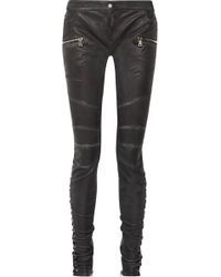 Balmain | Lace-up Leather Skinny Pants | Lyst
