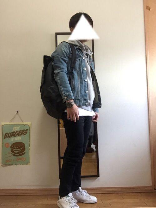 デニムジャケット×パーカー×スキニー×リュック 量産型大学生 レイヤード 黒スキニー プチプラ