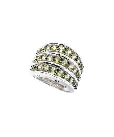 Peridot & Sterling Silver Three-Band Ring #zulily #zulilyfinds