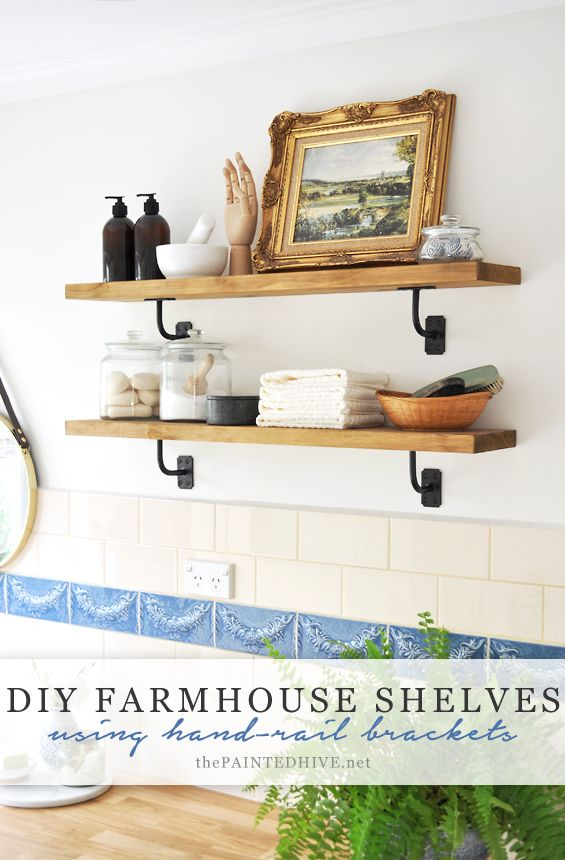 Make these cool farmhouse shelves for just $20 using hand-rail brackets and a plank of pine
