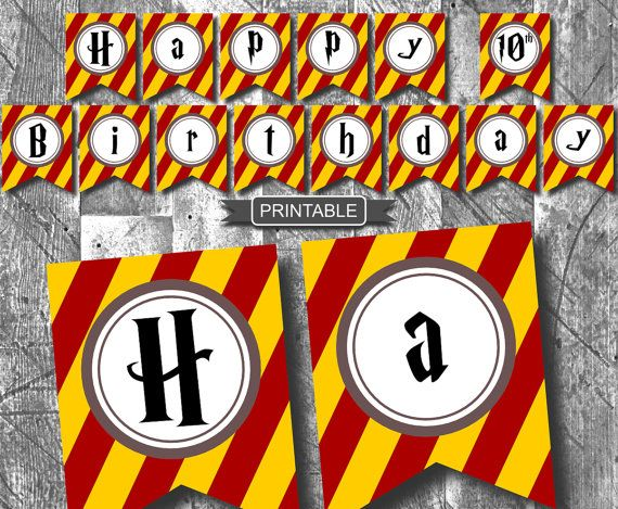 ♥DIY Harry Potter Style Party Banner Printable-Happy Birthday♥  INSTANT DOWNLOAD  This Harry Potter styled birthday banner will really stand out for
