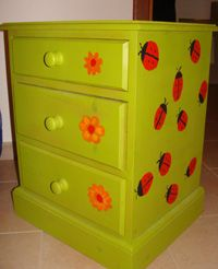How to turn an old bedside cabinet into a colourful piece for a kid's bedroom.