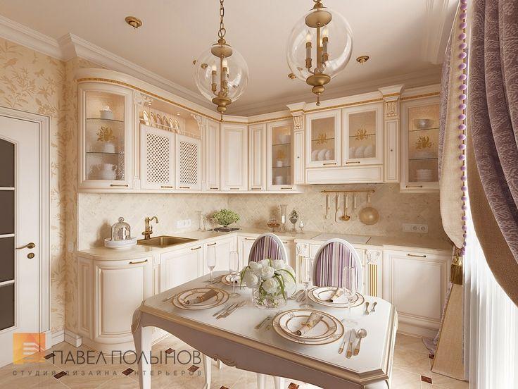 Фото интерьер кухни из проекта «Дизайн однокомнатной квартиры 48 кв.м. в классическом стиле, ЖК «Жемчужный фрегат» »