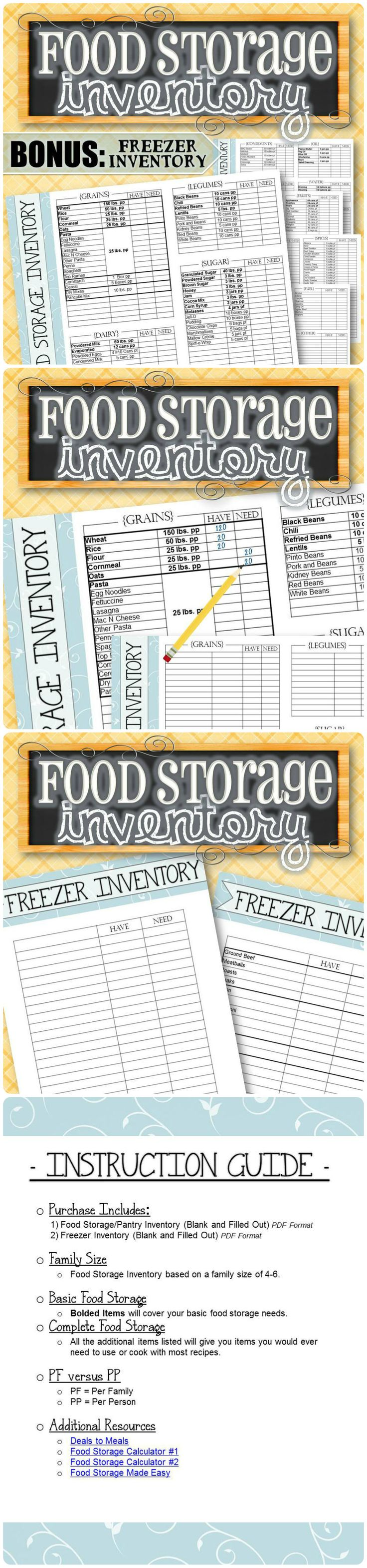 "Wanting to fill your pantry or stock up on food storage? These lists tell you what AND how much to purchase for each item! The NEED and WANT columns allow you to keep track of how much you have and mark what you need for easy ""at-a-glance"" shopping. The lists also include additional items such as toilet paper, shampoo, toothpaste, fuel items, etc. The simple solution for whether you're looking for just the basics or want a complete list of what to purchase for your home."