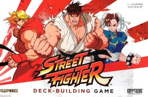 In the CapCom Street Fighter Deck-Building Game, you take on the role of Ryu, Ken, Chun-Li, Balrog, M. Bison or one of the other well-known characters as you travel to exotic locales seeking new challenges! While you begin armed only with basic combat maneuvers, you will add new, more powerful cards to your deck as you go, with the goal of defeating as many Stage Bosses as you can.