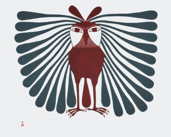 Kenojuak Ashevak - Long Feathered Owl 22 x 28 Stonecut (1994)