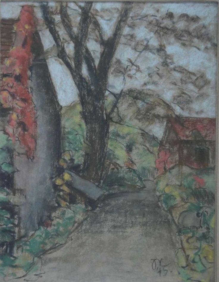 Niemeyer, Johannes, im Dorf, signiert, Aquarell, 61 x 46 cm — Aquarelle, Gouachen, Zeichnungen, Pastelle, Bleistift, Kohle, Rötel