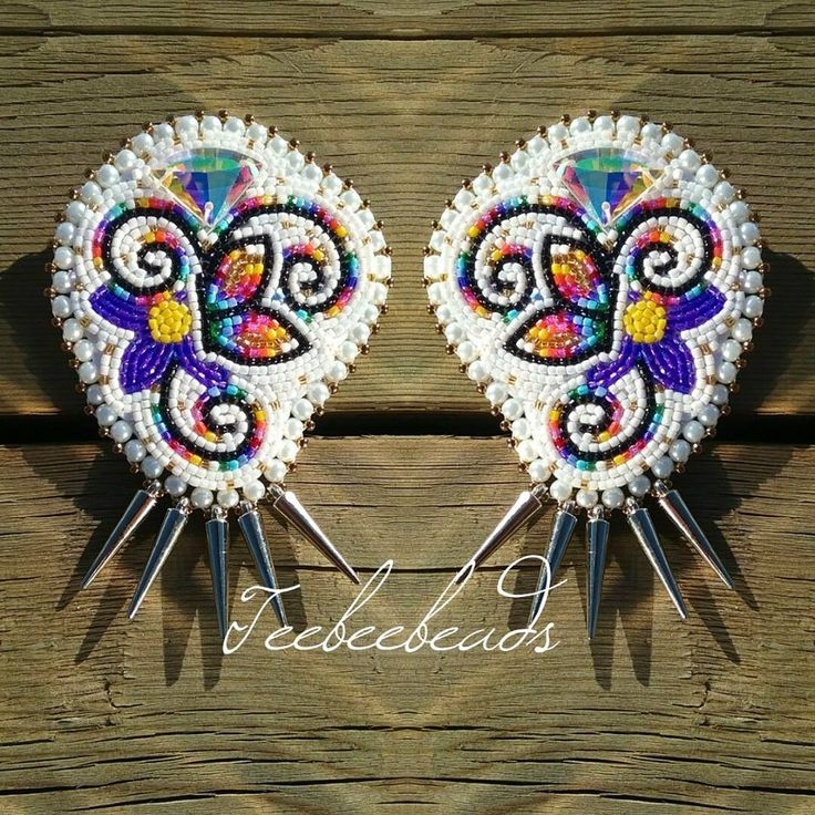 Beaded earrings with silver spikes by teebeebeads