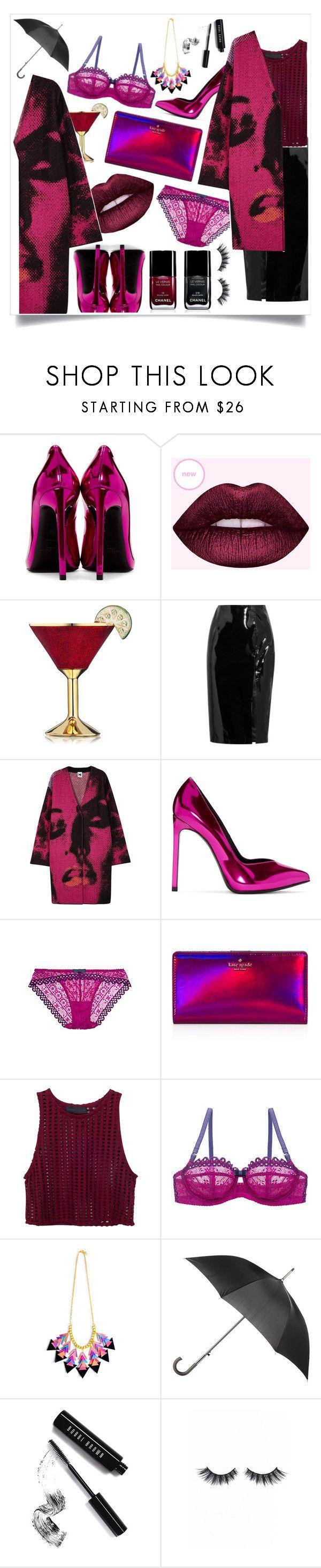 """""""Rainy Party Night"""" by melisafash on Polyvore featuring moda, Yves Saint Laurent, Estée Lauder, Topshop Unique, M Missoni, Huit, Kate Spade, Chanel, Totes y Bobbi Brown Cosmetics"""