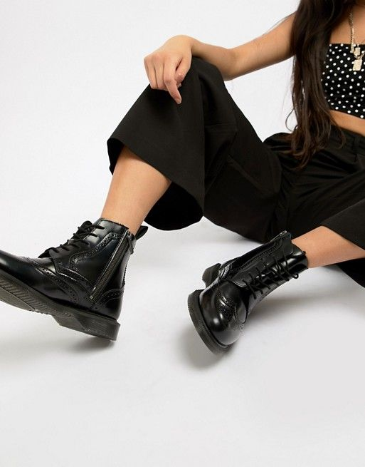 bc3aa9cb0cf Dr Martens Delphine Brogue Black Leather Lace Up Flat Ankle Boots in ...