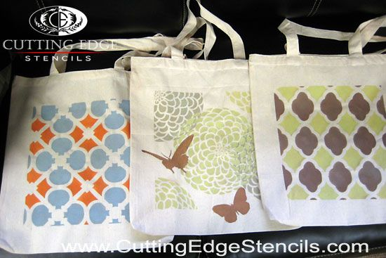 81 best stenciled fabric and tote bags images on pinterest for Arts and crafts tote bags