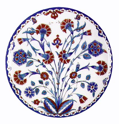 "Plate, Earthenware with underglaze cobalt    and overglaze 'Armenian Bole' decoration    Ottoman Turk, Iznik, 1580 CE, 13"" diameter"
