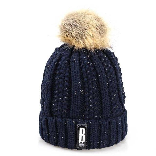 c55bd938ca7 Winter women s hat Double layer Warm hats pompoms Ball Winter hats For Women  Knitting Cap Skullies Beanies Hat female Gorros