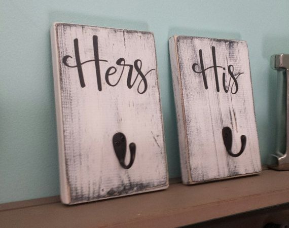 His And Hers Bath Signs Hooks Set Of 2 By Itswritteninvinyl