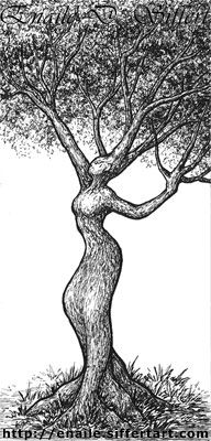 tree-woman - pen and ink drawing