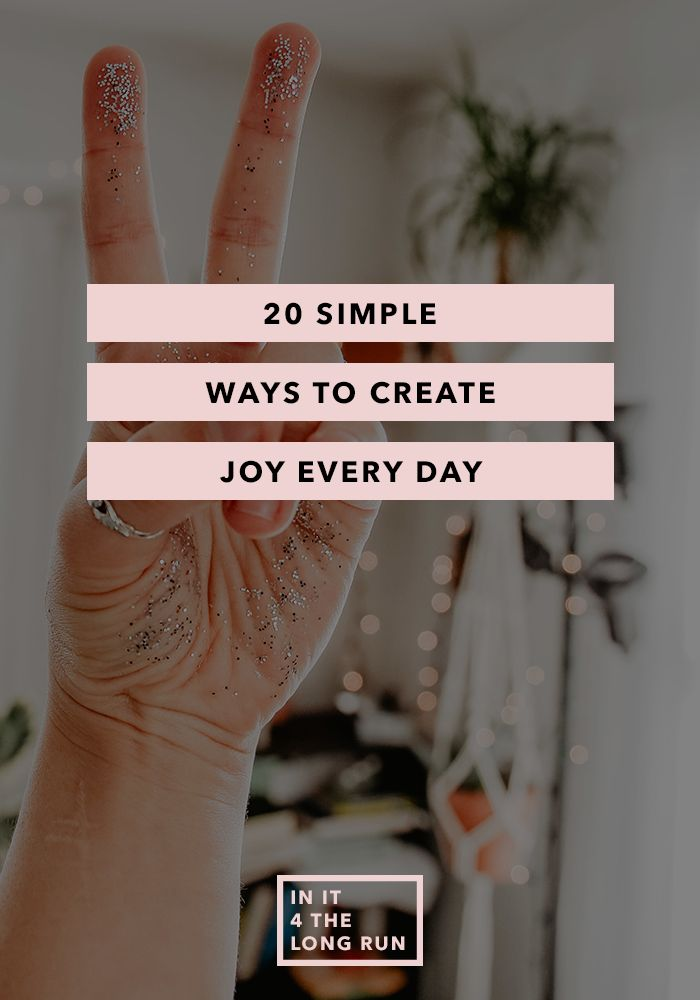 "20 Simple Ways to Create Joy Every Day The final question I ask every guest on the Chasing Joy Podcast is ""what is something that's bringing you joy lately?"" The answers always leave me beaming as we close out the show. The most wonderful part is the answers are never crazy, elaborate or expensive. The …"