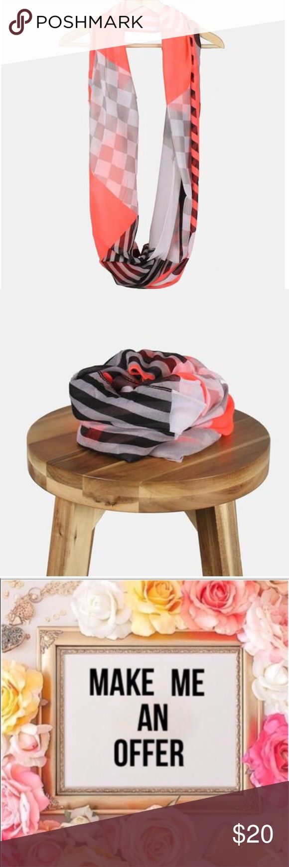 COMINGSOON 💕Polka Dots & Stripes Neon Coral Scarf Adorable lightweight infinity scarf with fun clashing polka dot, stripe and checkered prints. Perfect for adding a bright pop of color to any casual look, all year-round! 💕 NWOT Boutique Accessories Scarves & Wraps