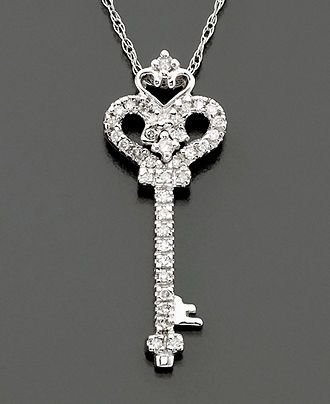 Diamond Necklace, 14k White Gold Diamond Key Pendant (1/10 ct.t.w.) - Necklaces - Jewelry & Watches - Macy's