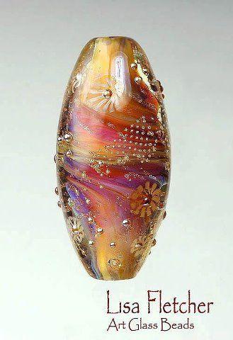 lampwork glass bead by lisa fletcher