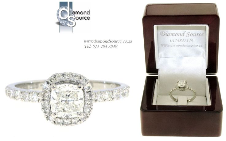 Cushion-cut Halo Design -  This is one of our most recent commissions featuring a halo diamond engagement ring design. This ring we crafted from Platinum and it is set with a 1.00ct. Cushion-cut diamond in the centre. Please email or call us with any queries. FREE QUOTATIONS on any jewellery design you require. E: info@diamondsource.co.za W: www.diamondsource.co.za T: 011 484 7349