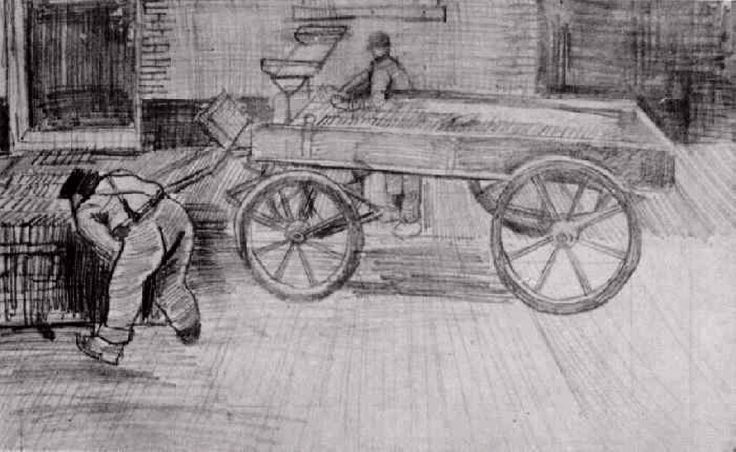 Due uomini con una della quattro ruote del carro di Vincent Van Gogh
