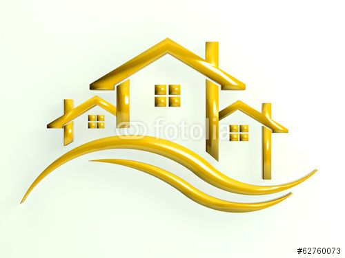 Gold icon Houses with waves