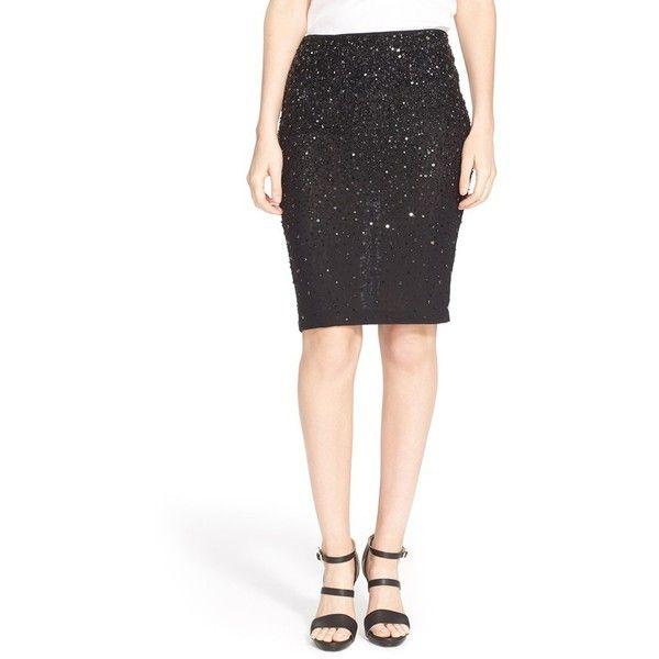 Alice + Oliva'Ramos' Embellished PencilSkirt ($465) ❤ liked on Polyvore featuring skirts, black, black skirt, pencil skirt, black stretchy skirt, sequin pencil skirt and black stretch skirt