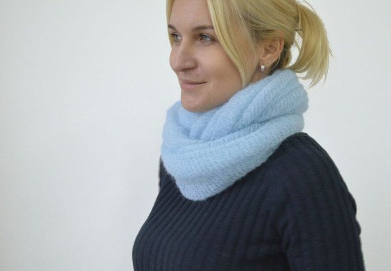 Blue mohair turban knitted blue headband knit turban womens accessories Boho headband winter scarf infinity mohair cowl light blue wrapper  >Color: light blue or calm blue  >Material: kid mohair / polyamide  >Dimensions: width ~ 13 inches ( ~ 35 cm) length ~ 35 inches ( ~ 90 cm)  >Care: gentle care, hand wash in warm water with mild soap, press into dry towel, lie flat to dry. Do not iron! ---------------------------------------------------------------------------- >READY ...