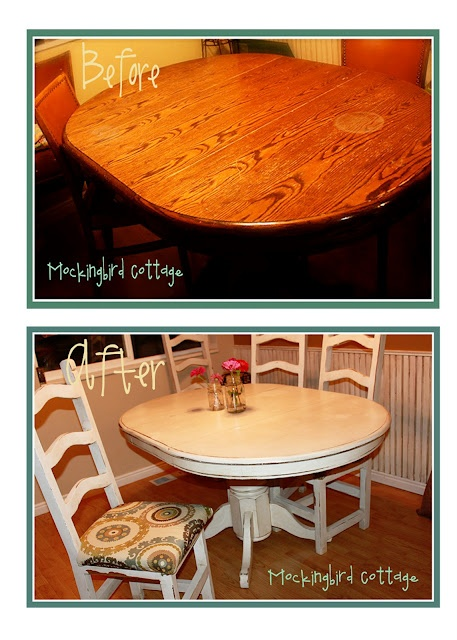 Mockingbird cottage refinished kitchen table and chairs home decor pinterest cottages - Refinished kitchen table ...