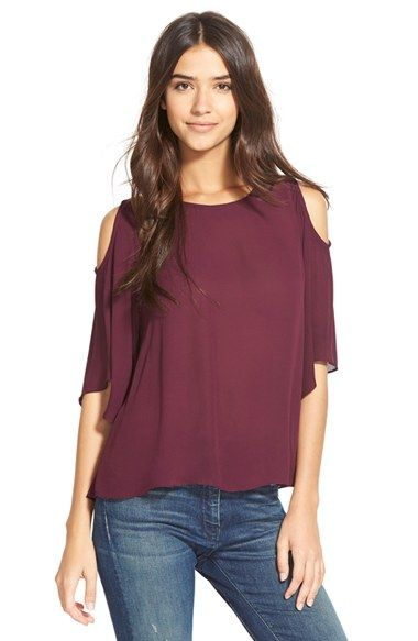 Free shipping and returns on Sam Edelman Cold Shoulder Blouse at Nordstrom.com. Sloping cold shoulder cutouts reveal flirtatious flashes of skin in an airy chiffon blouse framed with cascading flutter sleeves.