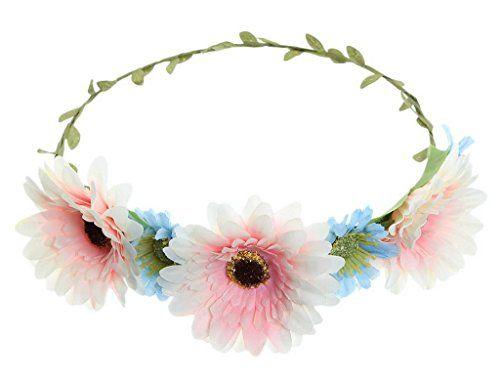 Bigood Women Chrysanthemum Headband Wedding Hair Wreath Flower Crown White