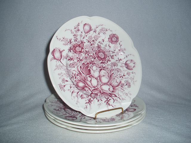Johnson Brothers China Windsor Ware Mulberry Dover Salad Plates Set of 4