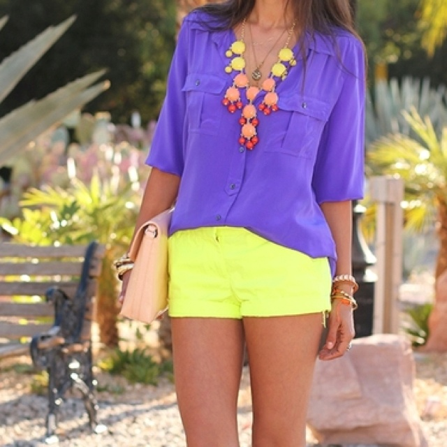 Bright Jewelry!!: Neon Shorts, Colors Combos, Yellow Shorts, Statement Necklaces, J Crew Shorts, Summer Outfits, Colors Blocks, Bright Colors, Neon Yellow